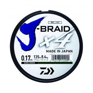 TRESSE DAIWA J BRAID X4 VERTE 135M