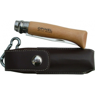 COUTEAU OPINEL N.8 MANCHE HETRE ETUI CUIR 85 MM