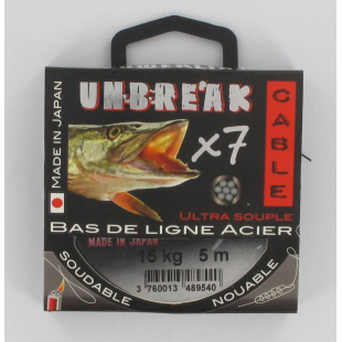 BAS DE LIGNE ACIER THERMOSOUDABLE POWERLINE UNBREAK'CABLE NOIR 5 M