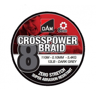 TRESSE DAM CROSSPOWER 8 BRAID DARK GREY 110 M